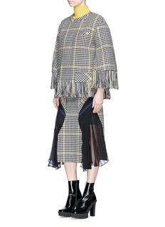 Sacai Elastic waist pleated chiffon wool houndstooth skirt