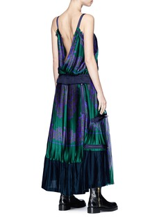 Sacai Chiffon panel floral print pleated satin dress