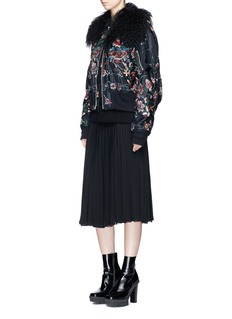 Sacai Faux fur floral embroidered padded bomber jacket
