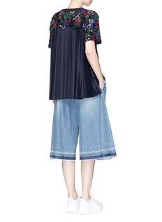 Sacai Pleated back floral guipure lace T-shirt