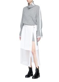 Sacai Mock neck sweater pleated shift dress