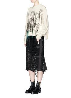 Sacai Elastic waist floral guipure lace skirt