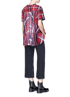 Sacai Pleated sateen back check plaid flannel top