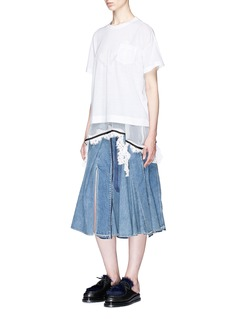 Sacai Floral lace trim chiffon underlay T-shirt