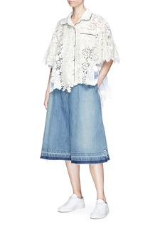 Sacai Stripe panel floral crochet lace top