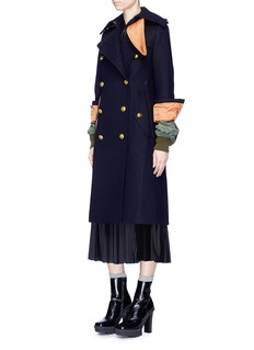 Sacai Contrast cuff wool melton military coat