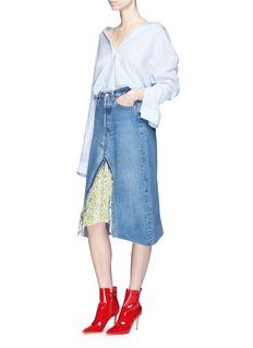 Vinti Andrews Remake floral print velvet panel denim skirt