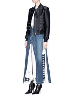 Vinti Andrews Remake track jacket denim maxi skirt