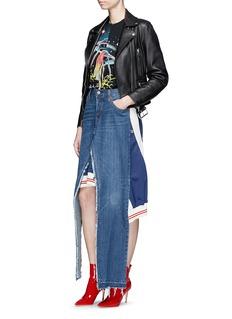 Vinti Andrews Remake track jacket panel denim skirt