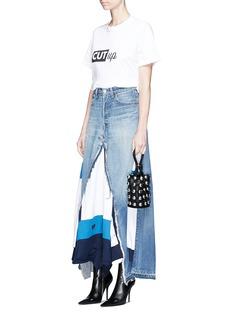 Vinti Andrews Remake track jacket maxi denim skirt