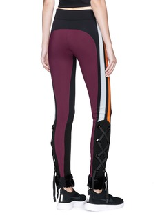 No Ka'Oi 'Kuna' lace-up cuff colourblock leggings