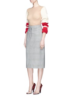 CALVIN KLEIN 205W39NYC Chunky wool knit sleeve sheer sweater