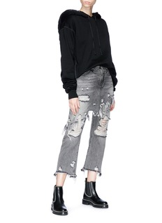 R13 'Double Classic' ripped layered jeans