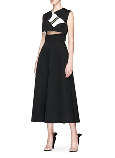 CALVIN KLEIN 205W39NYC Foldover panel cutout waist twill dress