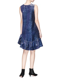 Jourden 'Lumiere' ruffle colourblock metallic guipure lace dress