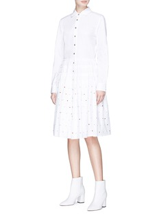 Jourden Strass embellished ruched poplin shirt dress