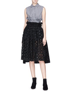 Jourden 'Sparkling' ruffle metallic crochet lace skirt