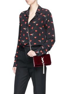SAINT LAURENT 'Kate' tassel velvet chain bag