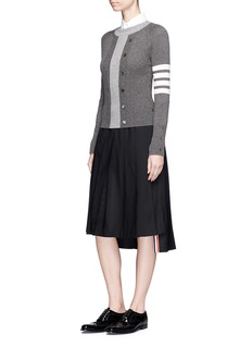 Thom Browne Stripe sleeve cashmere mixed knit sweater