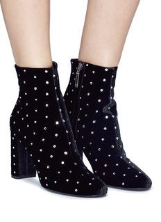 SAINT LAURENT 'Loulou' glass crystal velvet ankle boots