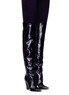 SAINT LAURENT 'Niki 85' leather thigh-high boots