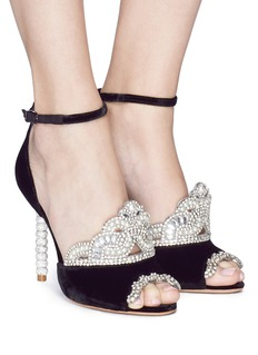 Sophia Webster 'Royalty' strass faux pearl velvet sandals