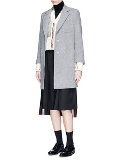 Thom Browne Mesh overlay wool cable knit cardigan