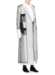 Thom Browne Mesh overlay wool herringbone patchwork coat