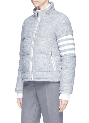 Detail View - Click To Enlarge - Thom Browne - Deerskin leather stripe sleeve bouclé down jacket