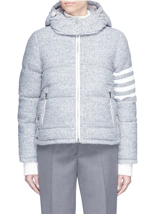 Main View - Click To Enlarge - Thom Browne - Deerskin leather stripe sleeve bouclé down jacket