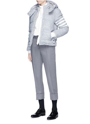 Figure View - Click To Enlarge - Thom Browne - Deerskin leather stripe sleeve bouclé down jacket