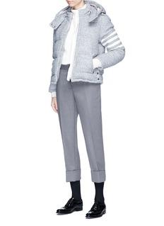 Thom Browne Deerskin leather stripe sleeve bouclé down jacket