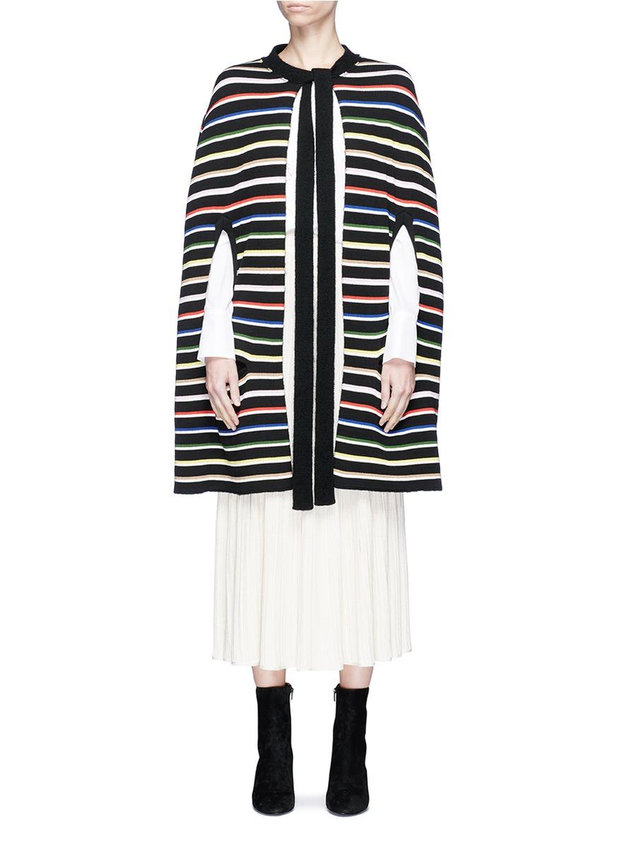 Reversible stripe knit poncho