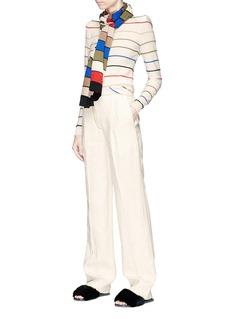 Sonia Rykiel Detachable scarf trompe l'œil stripe wool sweater