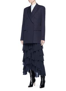 Victoria Beckham Belted wool hopsack wrap blazer