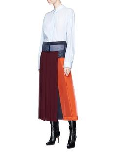Victoria Beckham Colourblock pleated georgette midi skirt
