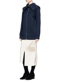 Victoria Beckham Side panel asymmetric hem bonded sateen midi skirt