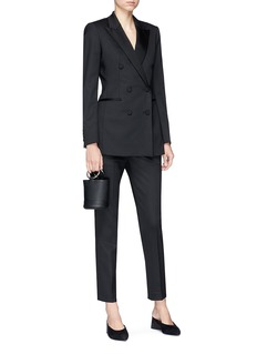 Theory Satin trim double-breasted tuxedo jacket
