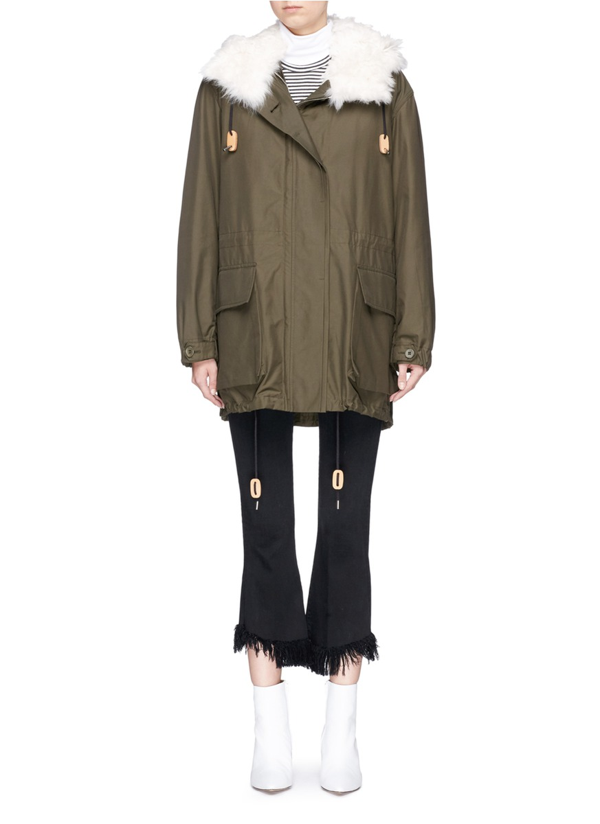 THEORY Cotton Twill Technical Parka - Forest Green
