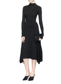 Theory Panelled virgin wool blend knit dress