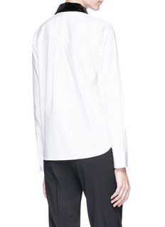 Theory 'Fancy' detachable velvet collar cotton poplin shirt