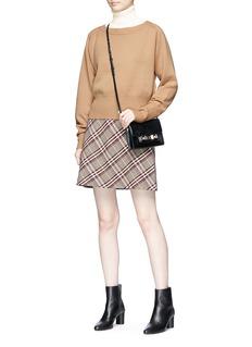 Theory Check plaid virgin wool flared mini skirt