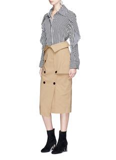 YCH Cocoon sleeve stripe crepe shirt