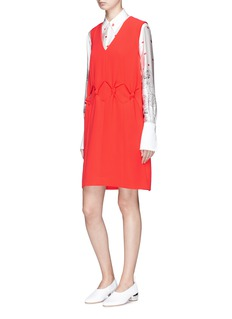 VICTORIA, VICTORIA BECKHAM Knotted waist crepe shift dress