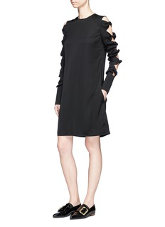 VICTORIA, VICTORIA BECKHAM Knotted sleeve jersey shift dress