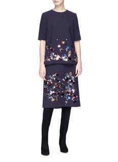 VICTORIA, VICTORIA BECKHAM Paillette embellished crepe skirt