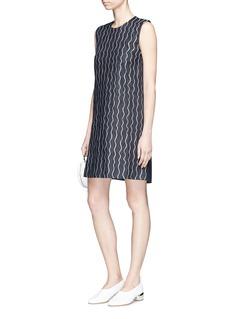 VICTORIA, VICTORIA BECKHAM Wavy stripe sleeveless raw denim shift dress