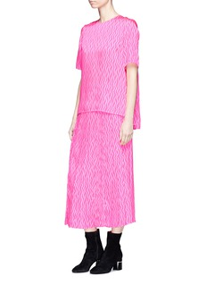 VICTORIA, VICTORIA BECKHAM Pleated wavy stripe print twill skirt