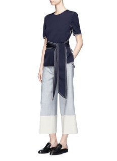 VICTORIA, VICTORIA BECKHAM Colourblock high waist suiting culottes