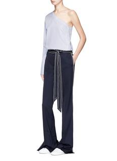 VICTORIA, VICTORIA BECKHAM One-shoulder stripe poplin shirt